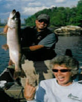 Fishing Guide Rob Nelson with Guest Cindy on a Day Trip to Basswood Lake
