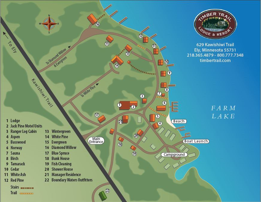 Resort Map for Timber Trail Lodge and Resort in Ely, MN